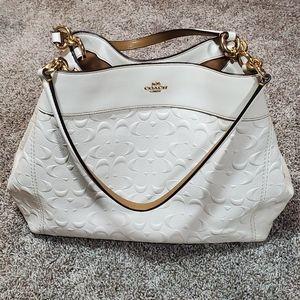 Coach Lexy Signature White Leather Shoulder Bag